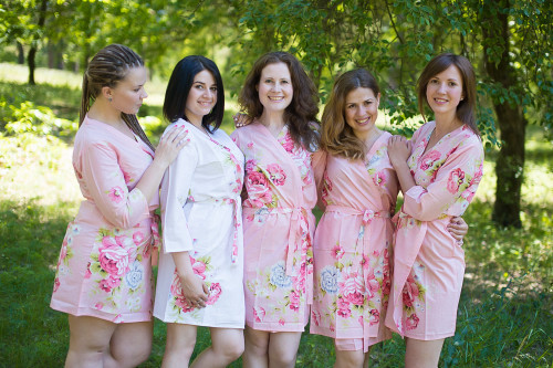 Pink Cabbage Roses Robes for bridesmaids