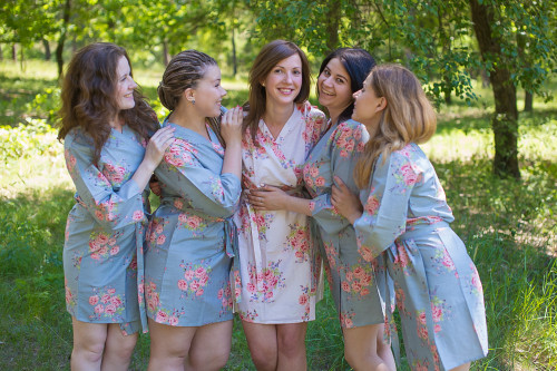 Silver Faded Floral Robes for bridesmaids
