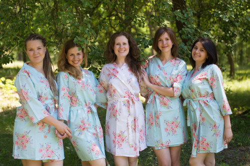 Light Blue Faded Floral Robes for bridesmaids