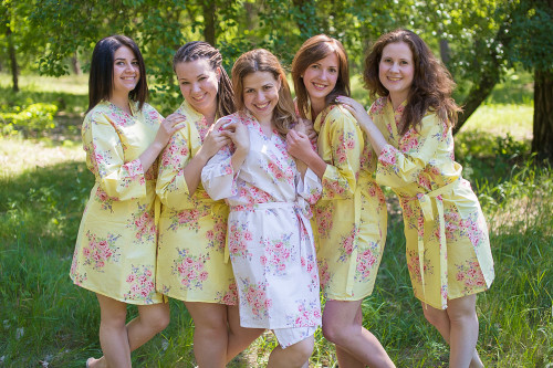 Light Yellow Faded Floral Robes for bridesmaids