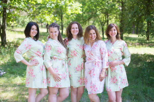 Mint Faded Floral Robes for bridesmaids