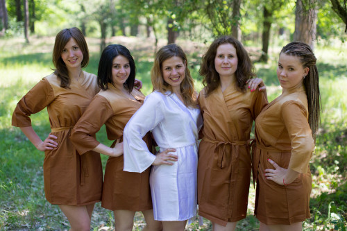 Khaki Ombre Tie Dye Robes for bridesmaids