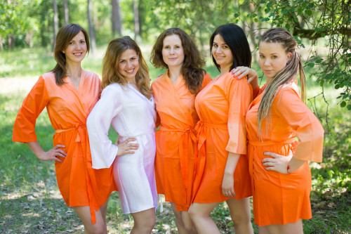 Tangerine Ombre Tie Dye Robes for bridesmaids
