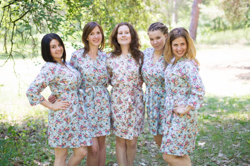 Light Blue Vintage Chic Small Floral Robes for bridesmaids