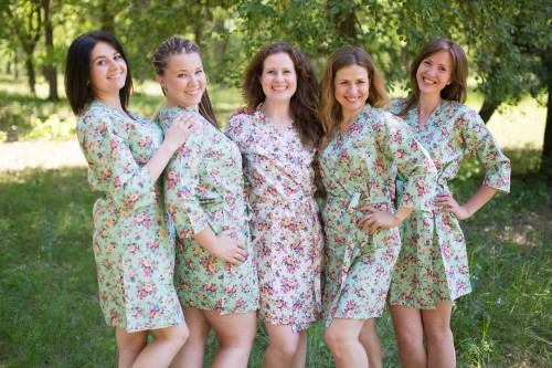 Mint Vintage Chic Small Floral Robes for bridesmaids
