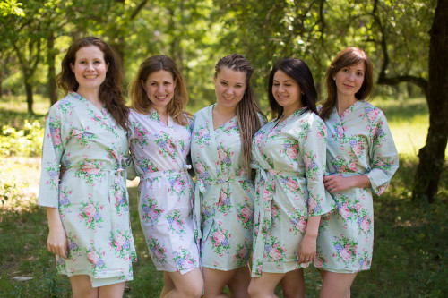Light Blue Pink Peonies Robes for bridesmaids