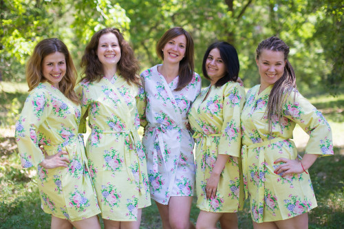 Light Yellow Pink Peonies Robes for bridesmaids