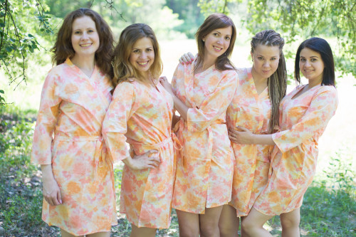 White Coral Ombre Watercolor Leafy Robes for bridesmaids