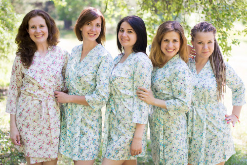 Light Blue Tiny Blossom Robes for bridesmaids