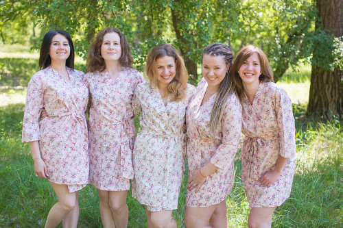 Pink Tiny Blossom Robes for bridesmaids