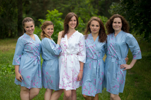 Gray Cherry Blossom Robes for bridesmaids