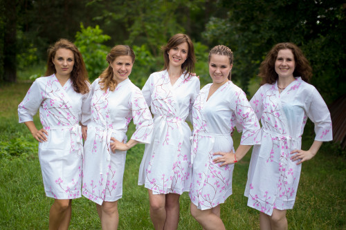 White Cherry Blossom Robes for bridesmaids
