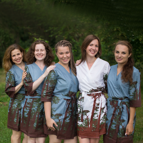 Gray Tree of Life Robes for bridesmaids