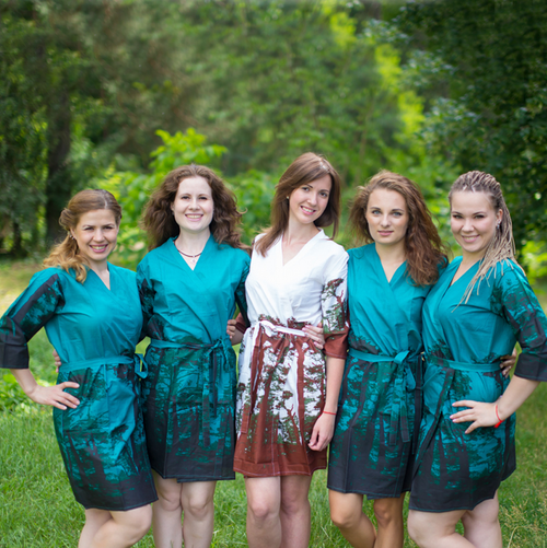 Teal Tree of Life Robes for bridesmaids