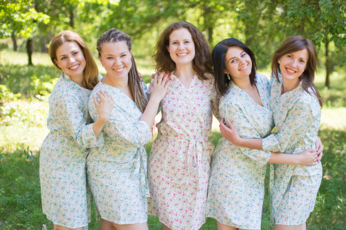 Light Blue Small Starry Floral Robes for bridesmaids