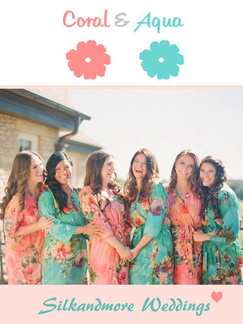 Coral and Aqua Wedding Robes