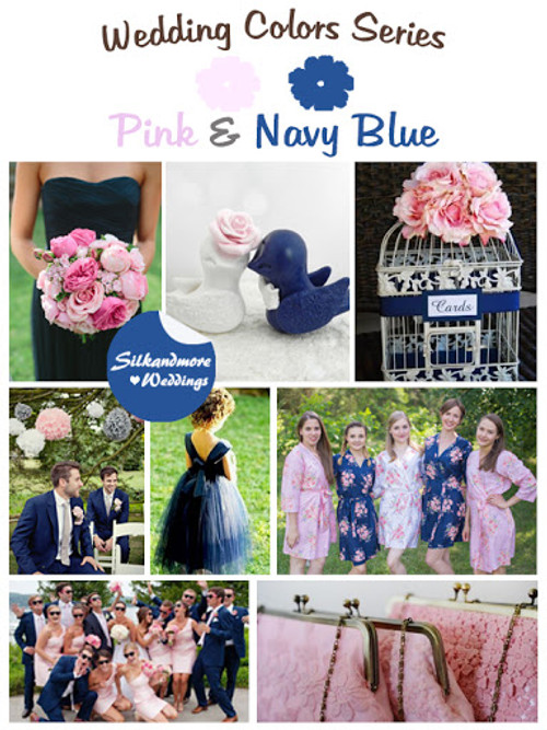 Navy Blue and Hot Pink Wedding Color Robes - Robes by silkandmore
