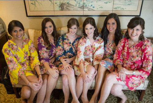 Mix and Match Bright Jewel Tones Floral Posy Bridesmaids Robes