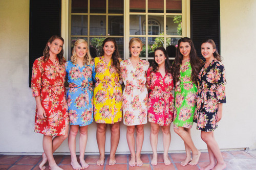 Mismatched Colorful Floral Posy Bridesmaids Robes