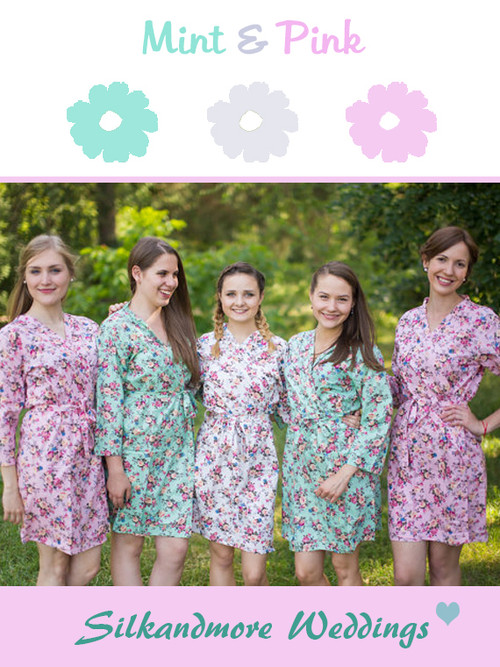 Pink and Mint Wedding Color Robes