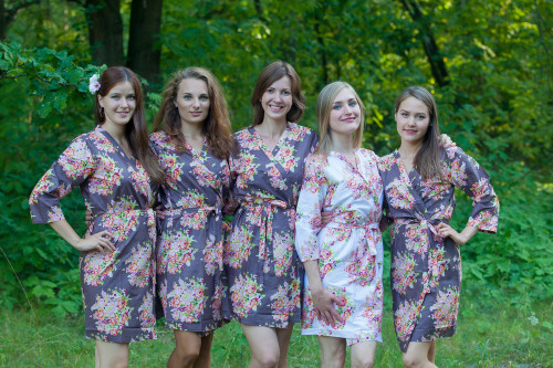Taupe Brown Floral Posy Robes for bridesmaids | Getting Ready Bridal Robes