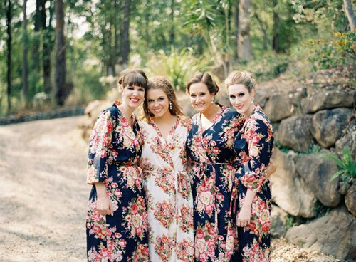 Dark Blue Rosy Red Posy Robes for bridesmaids