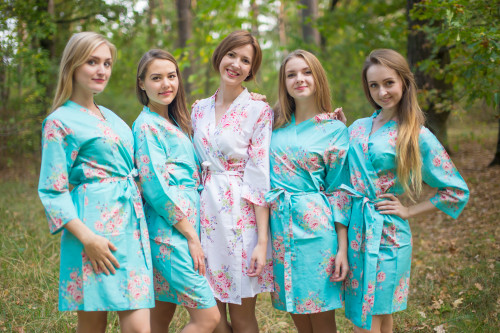 Aqua Faded Floral Robes for bridesmaids
