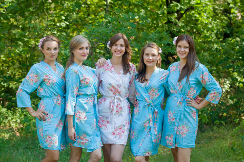 Blue Faded Floral Robes for bridesmaids