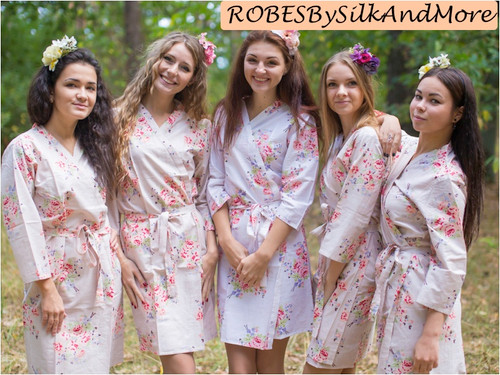 Ivory Faded Floral Robes for bridesmaids