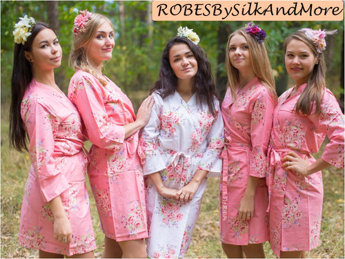 Rose Pink Faded Floral Robes for bridesmaids