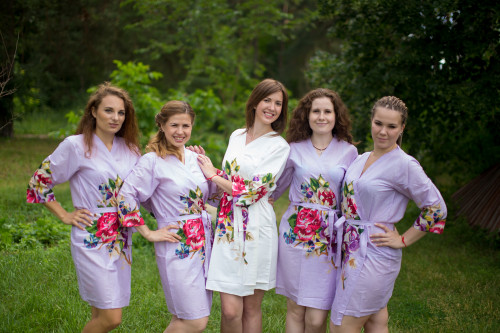 Lilac One long flower pattered Robes for bridesmaids | Getting Ready Bridal Robes