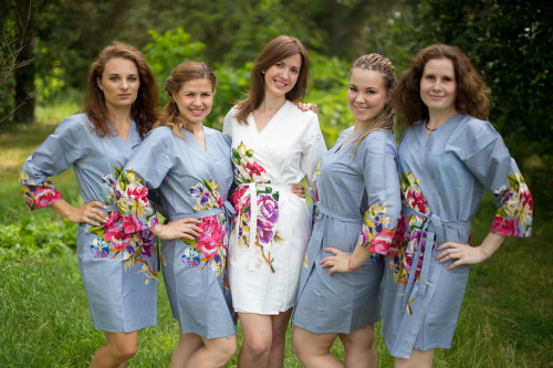 Silver Gray One long flower pattered Robes for bridesmaids   Getting Ready Bridal Robes