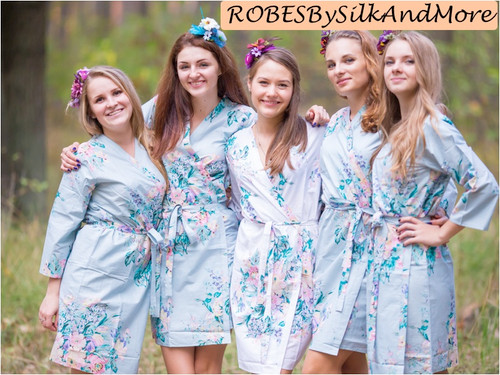 Gray Blooming Flowers pattered Robes for bridesmaids | Getting Ready Bridal Robes