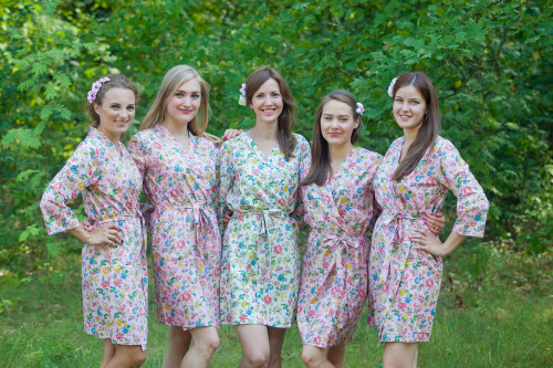 Pink Happy Flowers pattered Robes for bridesmaids | Getting Ready Bridal Robes