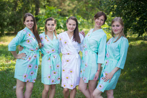 Mint Falling Daisies pattered Robes for bridesmaids | Getting Ready Bridal Robes
