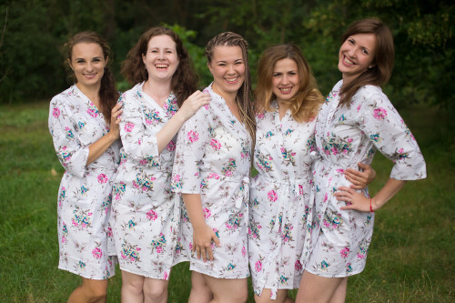 White Pink Teal Romantic Floral pattered Robes for bridesmaids | Getting Ready Bridal Robes