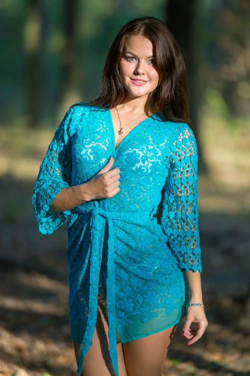 Oh Dale Teal Floral Lace Bridal Boudoir Robe