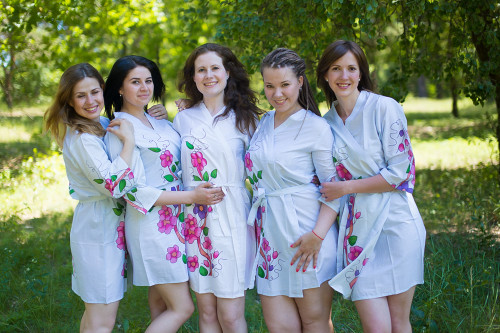 Light Blue Swirly Floral Vine Robes for bridesmaids
