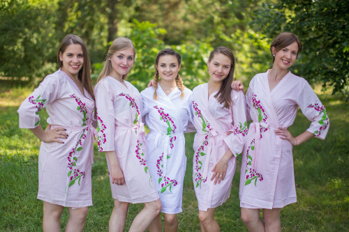 Pink Climbing Vines Robes for bridesmaids