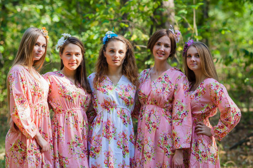 Shape Me Pretty Style Kaftans for bridesmaids to get ready in