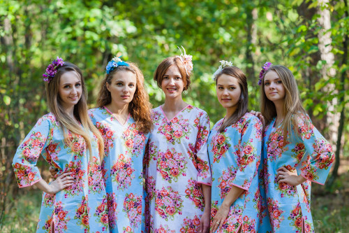 Sun and Sand Style Kaftans for bridesmaids to get ready in