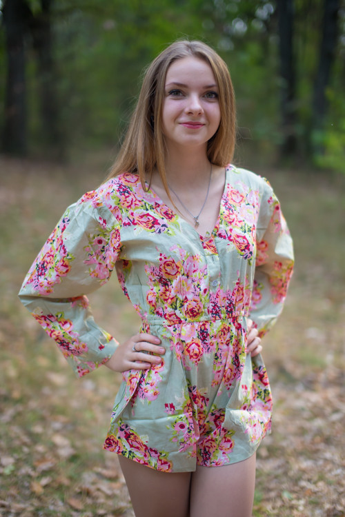 Button-Front Bridesmaid Rompers in Floral Posy Pattern