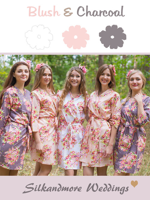 Blush & Charcoal Gray Wedding Color Robes