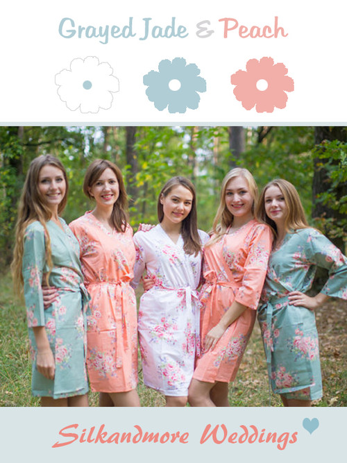 Grayed Jade and Peach Wedding Color Robes