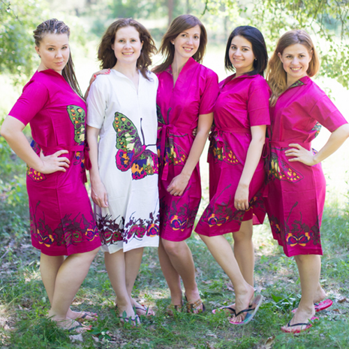 Big Butterfly Housecoats for bridesmaids to get ready in
