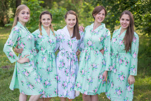 Pink Peonies Housecoats for bridesmaids to get ready in