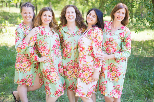 Rosy Red Posy Housecoats for bridesmaids to get ready in