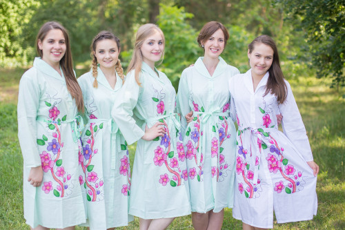 Swirly Floral Vine Housecoats for bridesmaids to get ready in