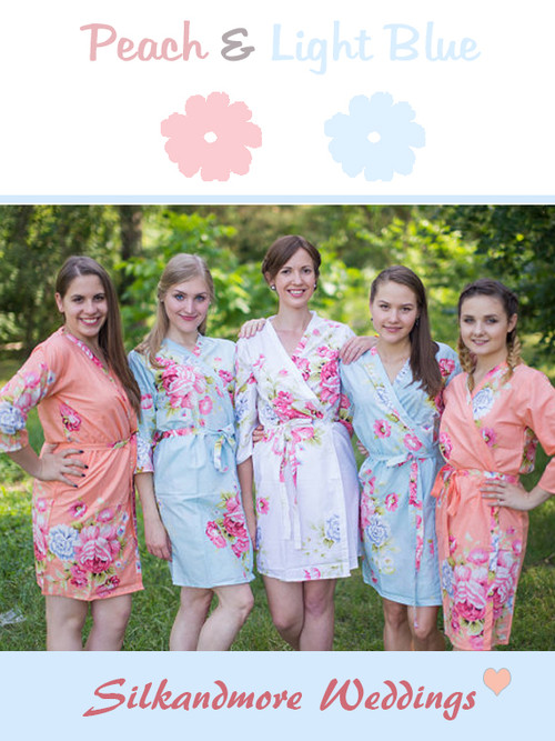 Peach & Light Blue Wedding Color Robes