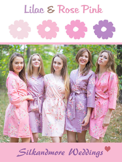 Lilac and Rose Pink Wedding Color Robes